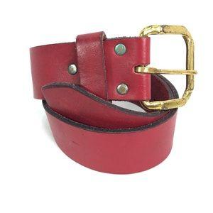 Vintage distressed red leather belt